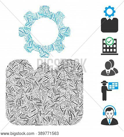 Line Mosaic Based On Bureaucrat Icon. Mosaic Vector Bureaucrat Is Designed With Random Line Dots. Bo