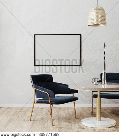 Horizontal Picture Frame Mock Up In Dinning Room Modern Interior With Luxury Dark Blue Chairs And Ma