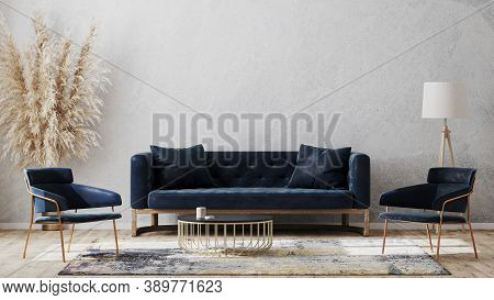 Modern Living Room Mock Up With Dark Blue Sofa, Armchairs Near Coffee Table, Modern Rug, Floor Lamp