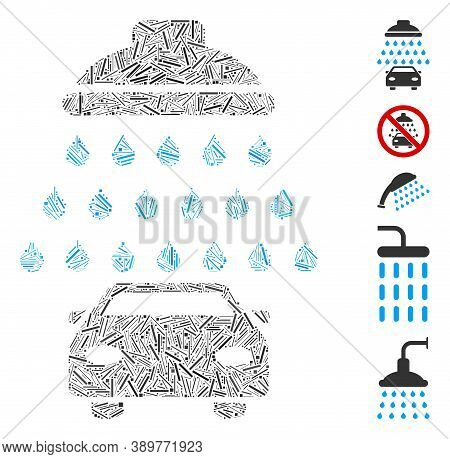 Hatch Mosaic Based On Car Shower Icon. Mosaic Vector Car Shower Is Designed With Randomized Hatch Sp