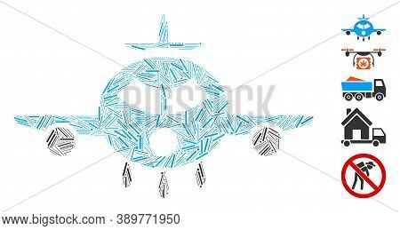 Hatch Mosaic Based On Cargo Aircraft Icon. Mosaic Vector Cargo Aircraft Is Composed With Scattered H