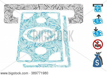 Line Mosaic Based On Cash Withdraw Icon. Mosaic Vector Cash Withdraw Is Formed With Scattered Line I