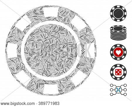 Hatch Mosaic Based On Casino Chip Icon. Mosaic Vector Casino Chip Is Composed With Random Hatch Spot