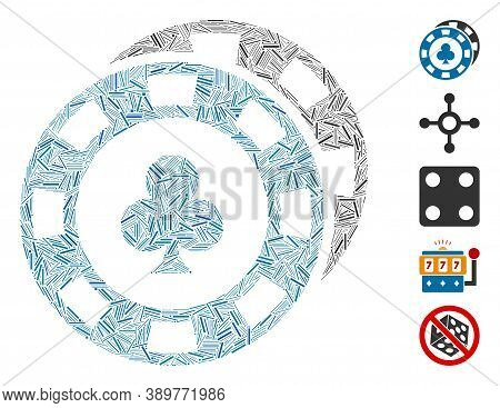 Hatch Mosaic Based On Casino Chips Icon. Mosaic Vector Casino Chips Is Designed With Randomized Hatc