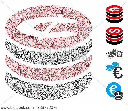 Hatch Mosaic Based On Cent Coins Stack Icon. Mosaic Vector Cent Coins Stack Is Composed With Scatter