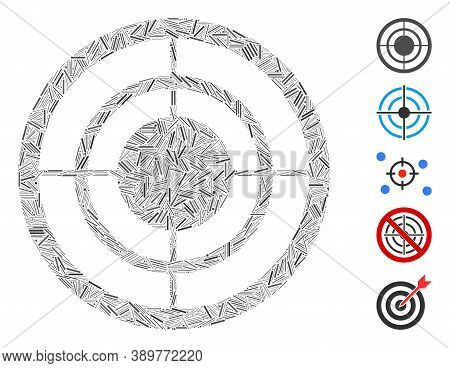 Hatch Mosaic Based On Circular Target Icon. Mosaic Vector Circular Target Is Formed With Scattered H