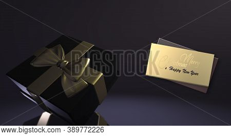 Luxury Christmas Banner In Black And Shiny Gold. Gold Gift Realistic Box With Bow, Text Merry Christ