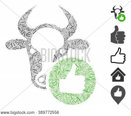 Hatch Mosaic Based On Cow Thumb Up Icon. Mosaic Vector Cow Thumb Up Is Created With Randomized Hatch