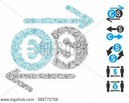 Hatch Mosaic Based On Currency Exchange Icon. Mosaic Vector Currency Exchange Is Composed With Rando