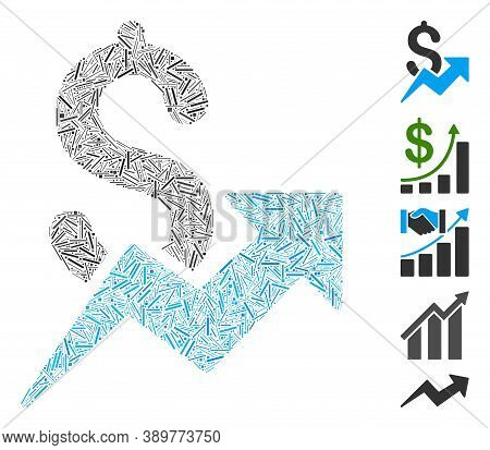 Hatch Mosaic Based On Dollar Growth Icon. Mosaic Vector Dollar Growth Is Designed With Scattered Hat