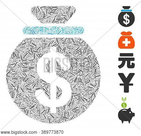 Dash Mosaic Based On Dollar Money Bag Icon. Mosaic Vector Dollar Money Bag Is Designed With Random D