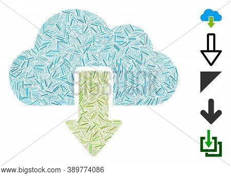 Hatch Mosaic Based On Download Icon. Mosaic Vector Download Is Created With Scattered Hatch Items. B