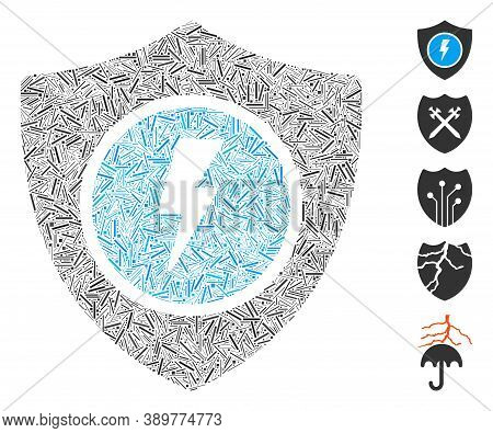 Line Mosaic Based On Electric Guard Icon. Mosaic Vector Electric Guard Is Composed With Random Line