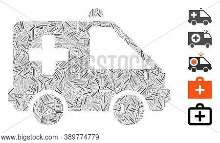 Hatch Mosaic Based On Emergency Car Icon. Mosaic Vector Emergency Car Is Created With Randomized Hat