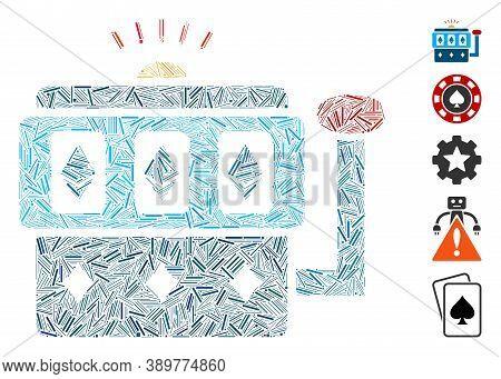 Hatch Mosaic Based On Ethereum Gambling Machine Icon. Mosaic Vector Ethereum Gambling Machine Is Des