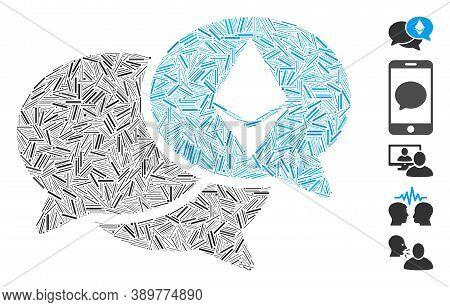 Line Mosaic Based On Ethereum Webinar Messages Icon. Mosaic Vector Ethereum Webinar Messages Is Desi