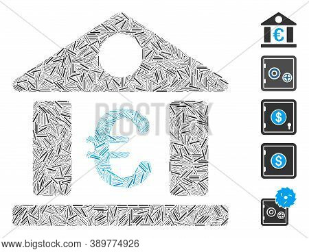 Dash Mosaic Based On Euro Bank Museum Icon. Mosaic Vector Euro Bank Museum Is Composed With Randomiz