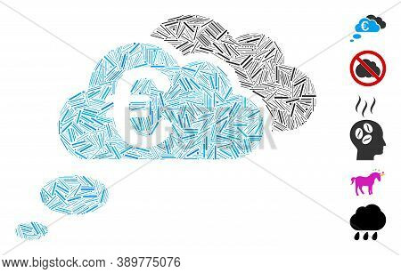 Dash Mosaic Based On Euro Dream Clouds Icon. Mosaic Vector Euro Dream Clouds Is Formed With Scattere