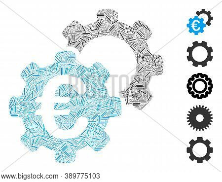 Dash Collage Based On Euro Industrial Icon. Mosaic Vector Euro Industrial Is Designed With Randomize