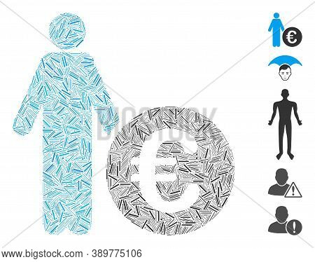 Hatch Mosaic Based On Euro Investor Icon. Mosaic Vector Euro Investor Is Composed With Random Line D