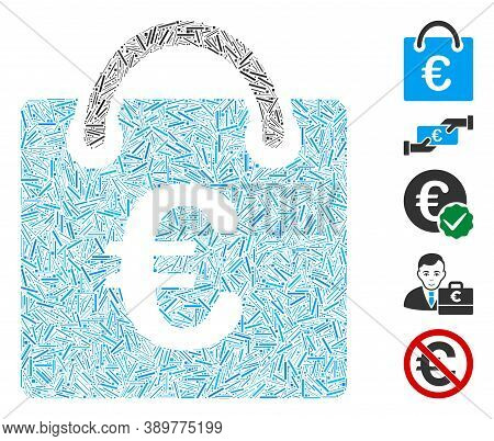 Dash Mosaic Based On Euro Shopping Bag Icon. Mosaic Vector Euro Shopping Bag Is Created With Randomi