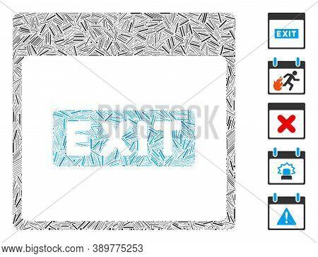 Hatch Mosaic Based On Exit Caption Calendar Page Icon. Mosaic Vector Exit Caption Calendar Page Is C