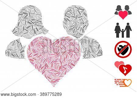 Dash Mosaic Based On Family Love Heart Icon. Mosaic Vector Family Love Heart Is Designed With Random