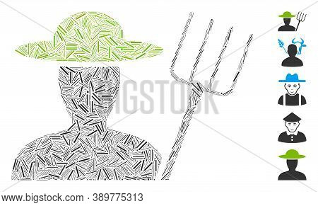Line Mosaic Based On Farmer With Pitchfork Icon. Mosaic Vector Farmer With Pitchfork Is Composed Wit