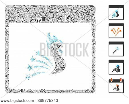 Hatch Mosaic Based On Festive Rooster Calendar Page Icon. Mosaic Vector Festive Rooster Calendar Pag