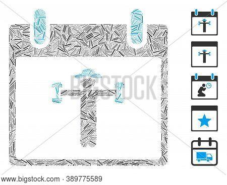 Hatch Mosaic Based On Fitness Calendar Day Icon. Mosaic Vector Fitness Calendar Day Is Composed With