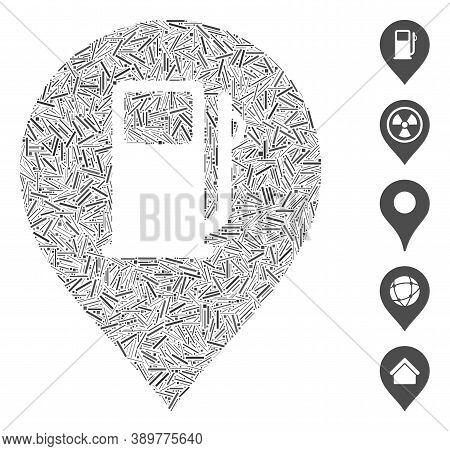 Hatch Mosaic Based On Fuel Station Marker Icon. Mosaic Vector Fuel Station Marker Is Created With Ra