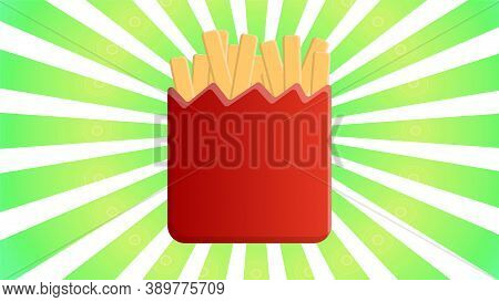 French Fries In Red Paper Box And Divergent Rays. Used For Poster, Banner, Web, T-shirt Print, Bag P