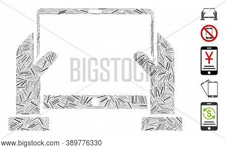 Hatch Mosaic Based On Hands Hold Tablet Icon. Mosaic Vector Hands Hold Tablet Is Designed With Scatt