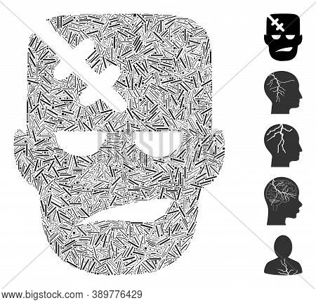 Line Mosaic Based On Head Patient Icon. Mosaic Vector Head Patient Is Composed With Random Line Spot
