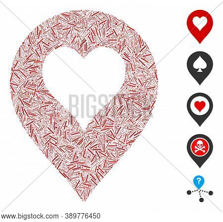 Dash Mosaic Based On Heart Casino Marker Icon. Mosaic Vector Heart Casino Marker Is Formed With Rand