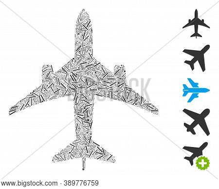 Line Mosaic Based On Jet Plane Icon. Mosaic Vector Jet Plane Is Composed With Randomized Line Elemen