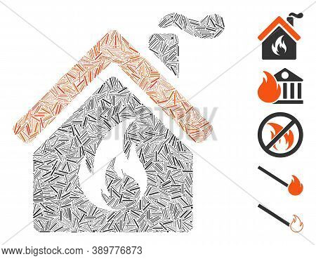 Hatch Mosaic Based On Kitchen Fire Icon. Mosaic Vector Kitchen Fire Is Formed With Scattered Hatch S