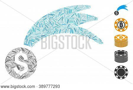 Hatch Mosaic Based On Lucky Money Icon. Mosaic Vector Lucky Money Is Created With Scattered Hatch It