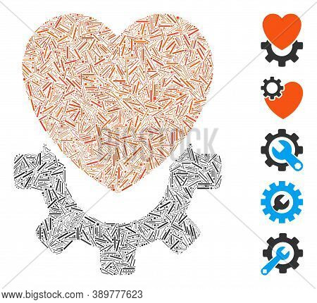 Line Mosaic Based On Mechanical Heart Icon. Mosaic Vector Mechanical Heart Is Composed With Randomiz