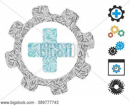 Hatch Mosaic Based On Medical Settings Icon. Mosaic Vector Medical Settings Is Composed With Randomi