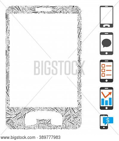 Hatch Mosaic Based On Mobile Phone Icon. Mosaic Vector Mobile Phone Is Created With Randomized Hatch
