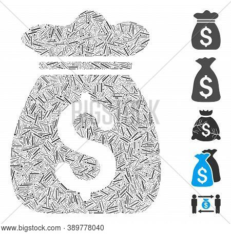 Dash Mosaic Based On Money Bag Icon. Mosaic Vector Money Bag Is Designed With Scattered Dash Dots. B