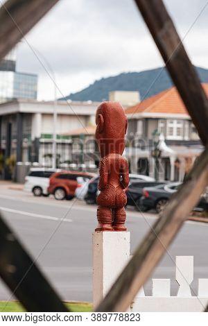 Maori Sculpture From Behind. Government Gardens, Rotorua, New Zealand. September 2020