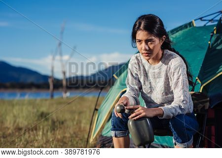 One Lifestyle Woman Sitting On Camping Camp In Nature Summer At Nature Forest