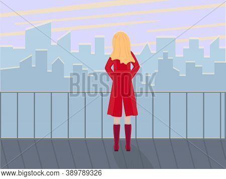 A Young Girl Stands On The Roof Of The Observation Deck And Looks At The View Of The City At Dawn. V