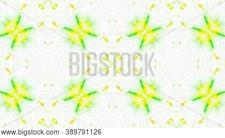 Water Colour Motif. Watercolor Painted Decor. Yellow, Green And White. Tie-dye Boho Abstract Floor.