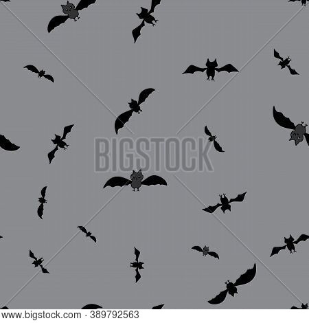 Bats In Flight Seamless Repeat Vector Swarm Of Bats Silhouetted Against The Gray Night Sky Surface P