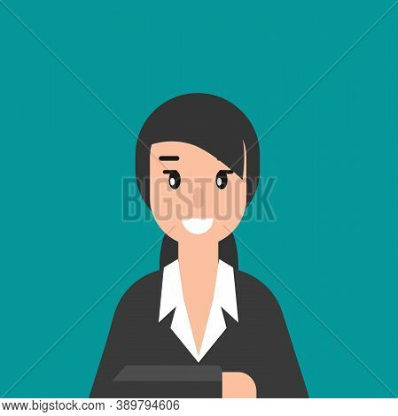 Business Woman Or Attorney. Flat Vector Illustration On Blue Background. Law Consulting, Juridical H