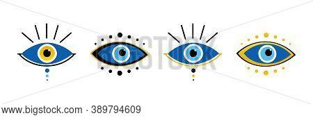 Vector Conceptual Blue Evil Eye Symbols, Talismans, Amulets Icons Set, Collection.
