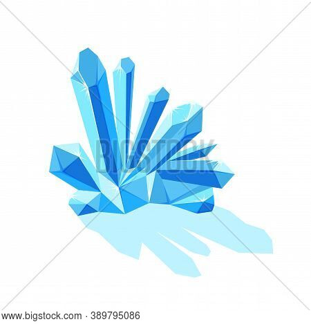 Ice Crystals With Shade. Crystal Druse Made Of Ice Or Blue Mineral Isolated In White Background. Vec